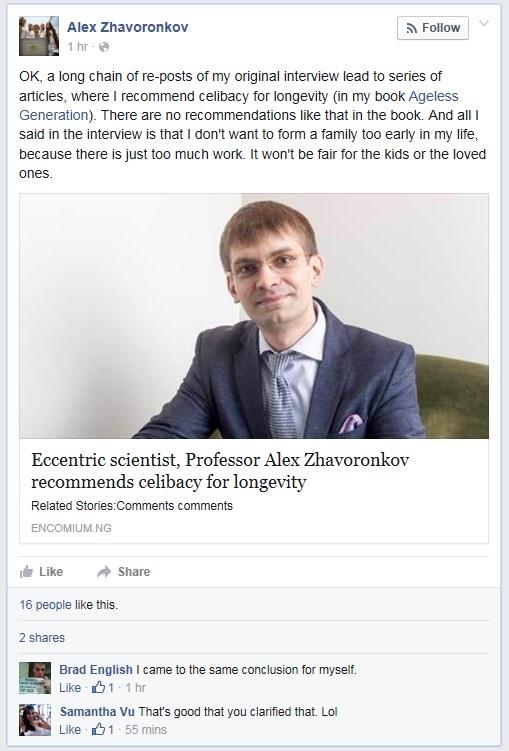 Alex Zhavoronkov denounces claims that he recommended celibacy for longevity.