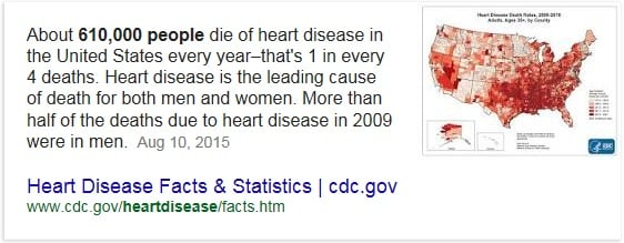Statistics: How many people die of heart attacks.