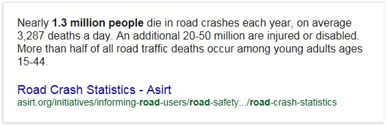 Statistics: How many people die in car crushes every year.