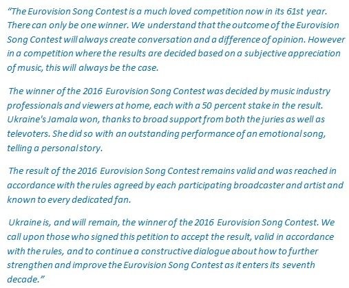 Statement of European Broadcasting Union in response to the petiton.