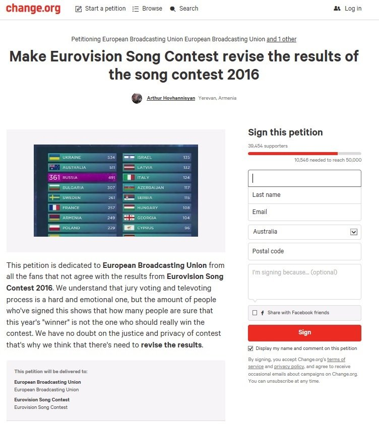Petition to Eurovision Song Contest to Revise Results