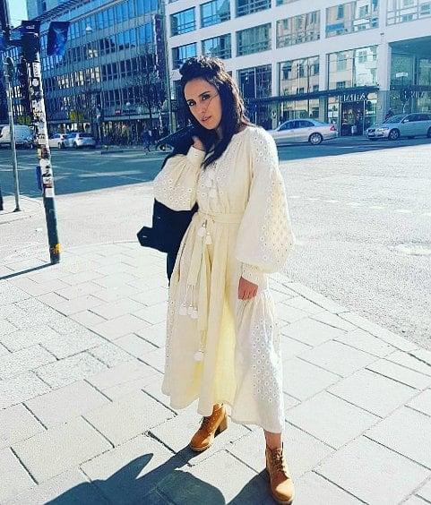 Jamala in white vyshivanka.