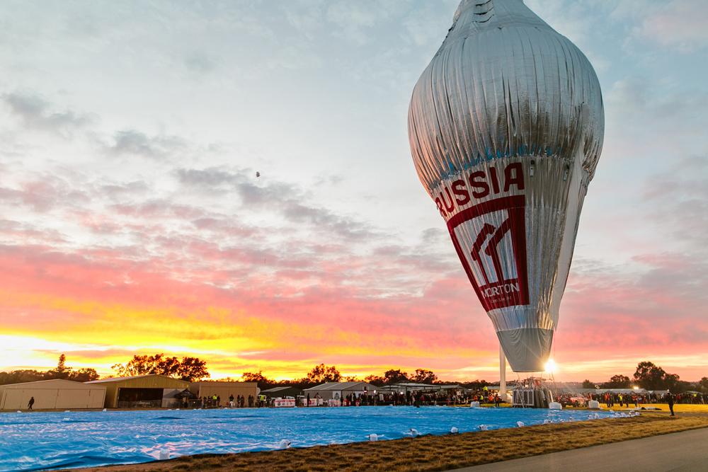Sunrise hot air balloon.