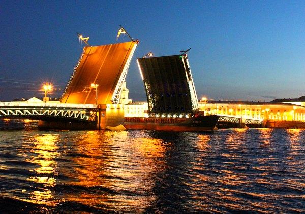 Bridges over Neva River in St. Petersburg.