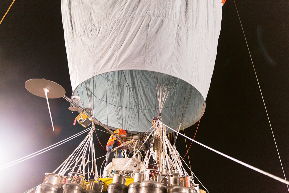 Helium pumped into the balloon.