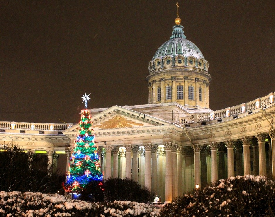 Winter, Christmas tree, Xmas, Kazan cathedral, St. Petersburg, Russia.