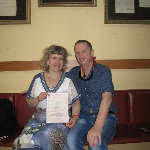 Olga and Robert (Ukraine, Australia) registering marriage.