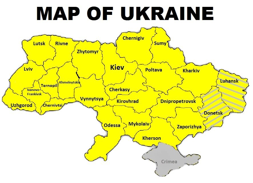 Map of Ukraine: Luhansk and Donetsk regions, Crimea.