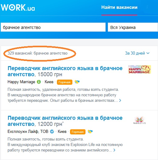 Marriage agency jobs at Work.ua.
