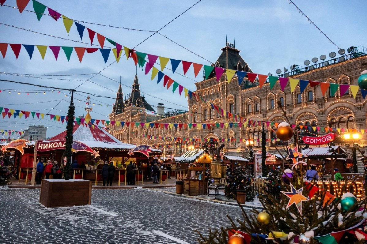 Xmas markets in Red Square, Moscow, Russia.