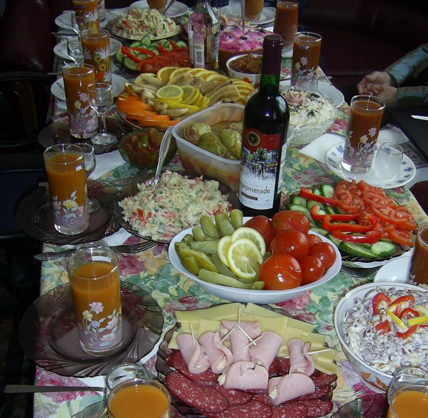 Festive table in Russia.