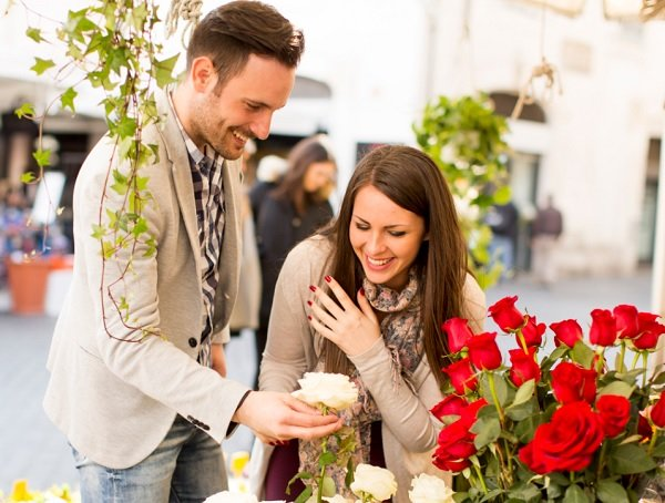 Flower giving is part of the courting etiquette.