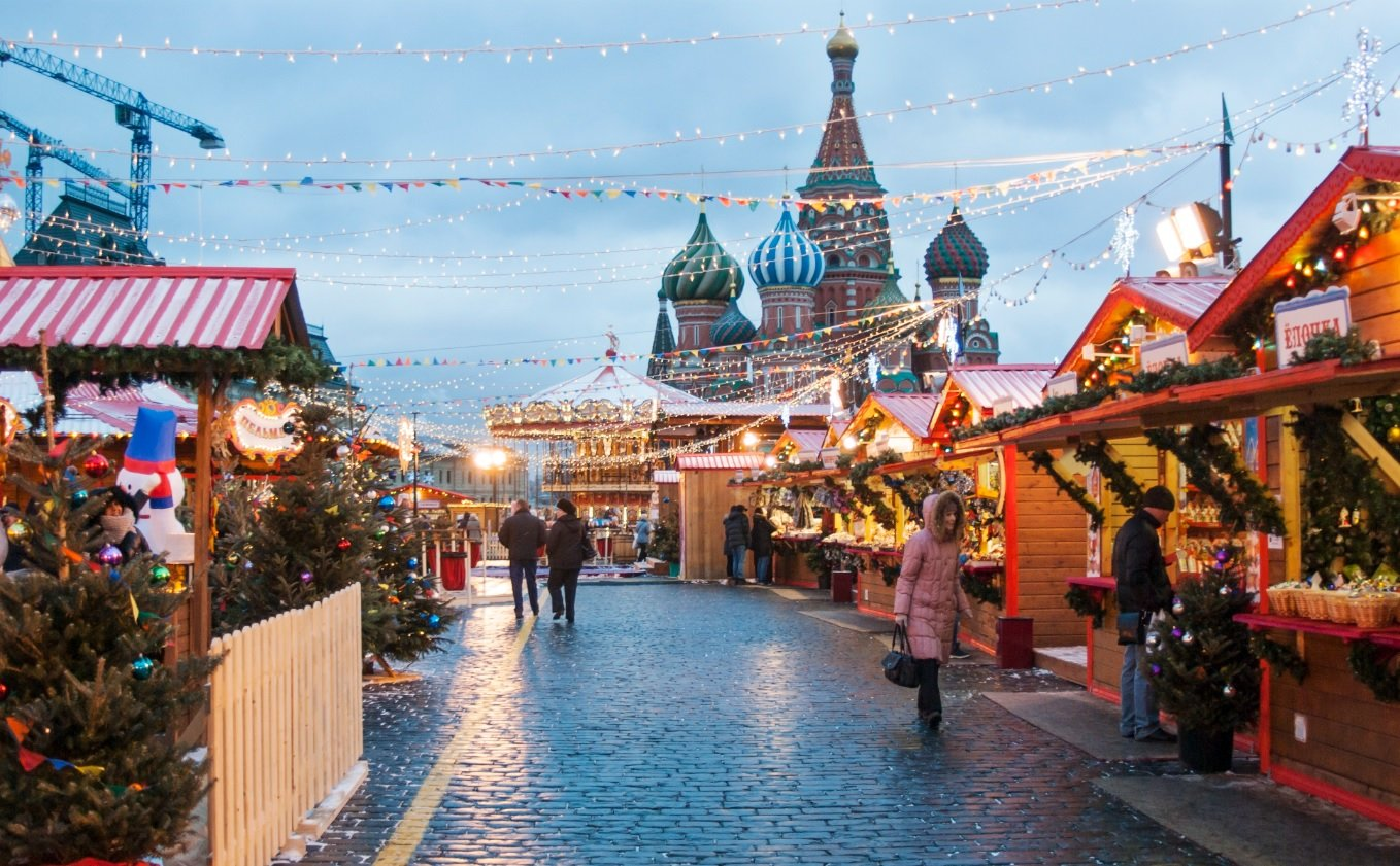Moscow in Dcemeber 2017, Red Square Christmas Markets.