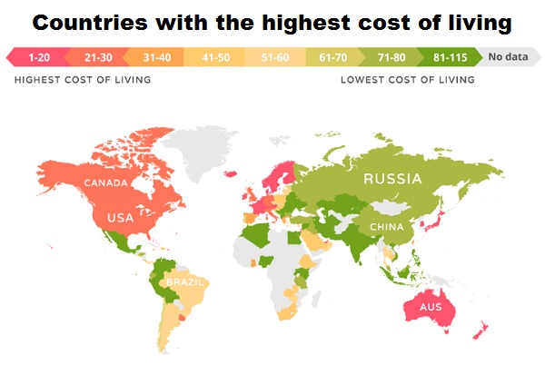 Cost of life ranking, worldwide.