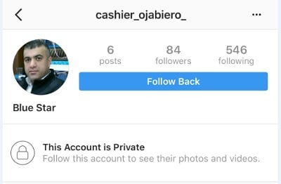Scammer's profile on Instagram.
