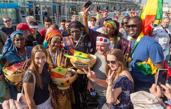 Russia, Yekaterinburg: Fans of the Senegal national team before the match with Japan. at the stadium. FIFA World Cup 2018.