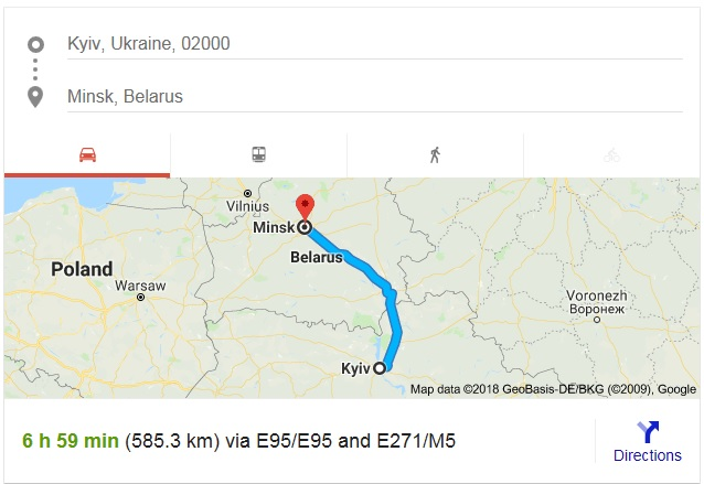 Trip by car from Ukraine to Belarus.