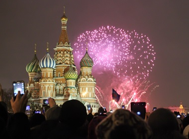 Moscow fireworks on Red Square.