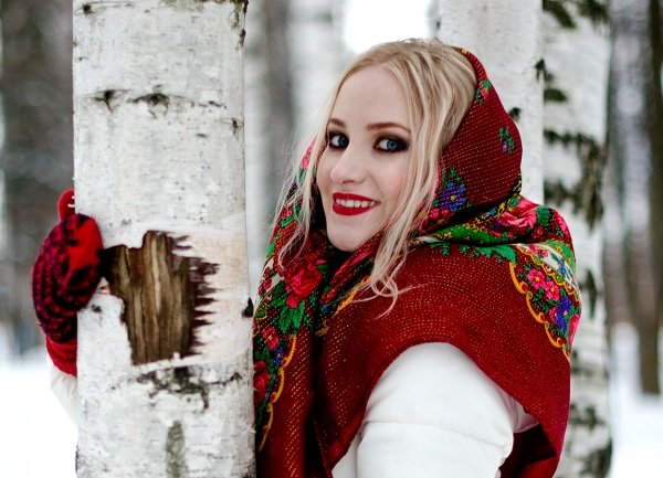 Russian girl in the forest, winter.